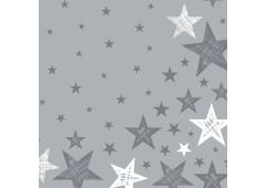 Duni servetten Shining Star Grey 33x33cm