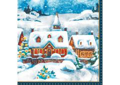 Duni servetten Winter Village 33x33cm