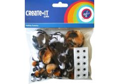 Create-It Pompoms animal mix + oogjes 75 stuks