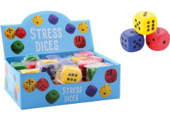 Funtoy stress dobbelstenen in display, 4 assorti
