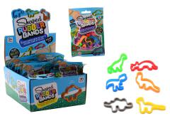 Shaped Rubber Bands Dino Style, 6 stuks