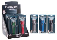 Magnetische zaklamp in display 6 assorti