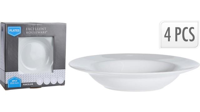 Porselein bord diep 20,5cm set a 4 stuks | Cilgro B.V.